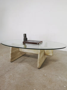 GLASS & TRAVERTIN OVAL COFFEETABLE