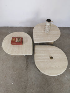 TRAVERTIN NESTING TABLES LEAF