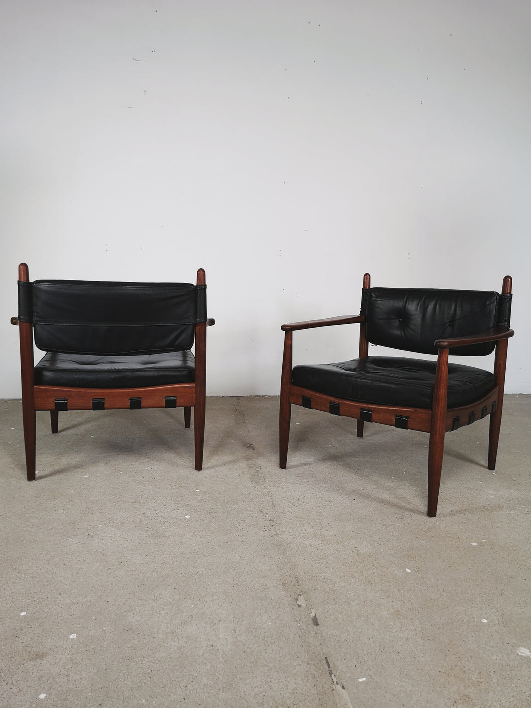 LEATHER & ROSEWOOD LOUNGE CHAIRS