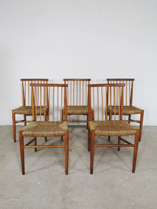 WOODEN CHURCH CHAIRS (SET OF 5)