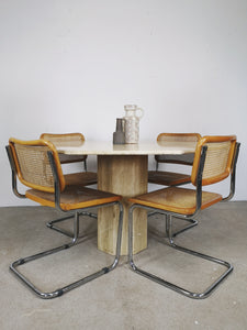 TRAVERTIN HEXAGON DINING TABLE