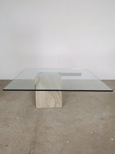 GLASS & MARBLE GOLD CROSS COFFEETABLE