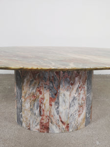 OVAL MULTI COLOR MARBLE COFFEE TABLE