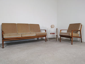 MID CENTURY VELVET SET SOFA & CHAIR