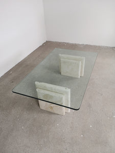 GLASS & MARBLE COFFEE TABLE