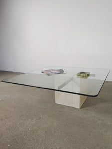 TRAVERTIN & GLASS CROSS COFFEE TABLE