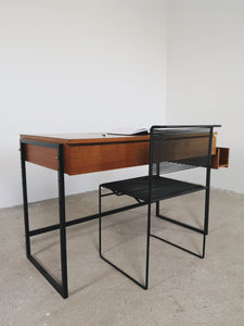 TEAK & BLACK METAL DESK