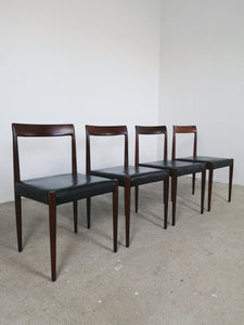 LUBKE ROSEWOOD & BLACK LEATHER CHAIRS (SET OF 4)