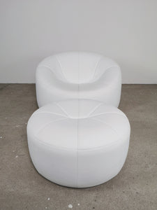 LIGNE ROSET PUMPKIN CHAIR IN WHITE LEATHER