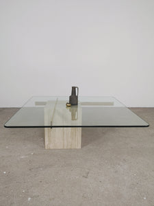 TRAVERTIN, GOLD & GLASS CROSS COFFEE TABLE