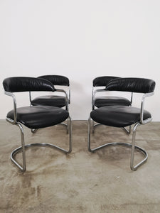 CHROME & BLACK LEATHER CHAIRS (SET OF 4)
