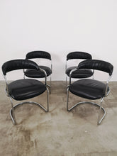 Afbeelding in Gallery-weergave laden, CHROME & BLACK LEATHER CHAIRS (SET OF 4)