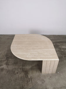 TRAVERTIN LEAF TABLE RIBBED FOOT