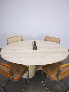 OVAL CURVY TRAVERTIN DINING TABLE