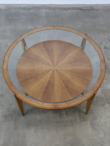 ROUND GLASS TOP COFFEE TABLE