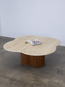 TRAVERTINE FLOWER COFFEE TABLE