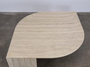 TRAVERTINE LEAF RIBBED FOOT COFFEE TABLE II