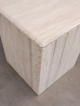 Load image into Gallery view, TRAVERTINE LEAF RIBBED FOOT COFFEE TABLE II