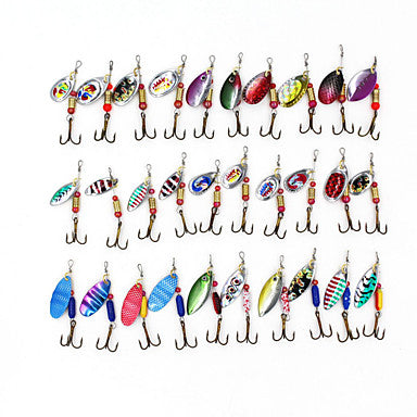 30 pcs Fishing Lures Hard Bait Buzzbait & Spinnerbait Lure Packs  Metal Sinking