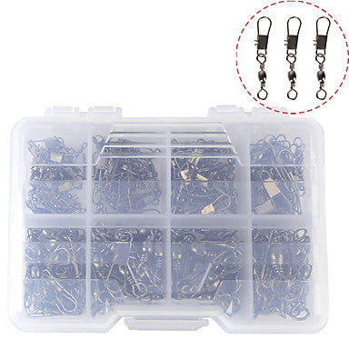 140 pcs Fishing Tackle Box Fishing Snaps & Swivels Steel Stainless