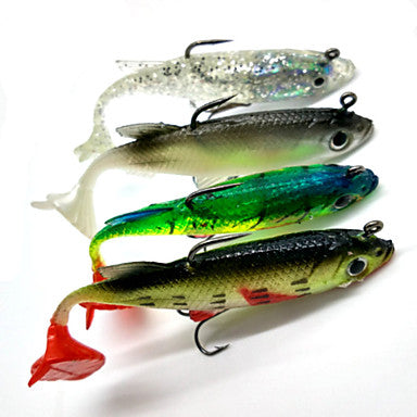 4 pcs Fishing Lures Soft Bait Shad Soft Jerkbaits Soft Plastic Sinking Sea Fishing Spinning Freshwater Fishing / Bass Fishing