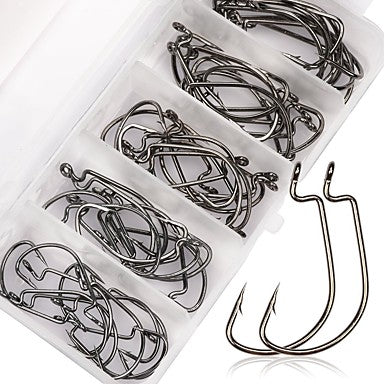 50 pcs Worm Hooks Fishing Hooks Thin Hang-Nail Sea Fishing / Fly Fishing / Bait Casting Carbon Steel / Spinning / Jigging Fishing / Freshwater Fishing / Lure Fishing / General Fishing