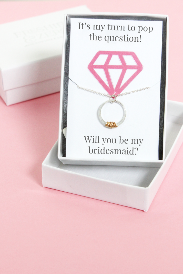 DIY will you be my bridesmaid necklace card