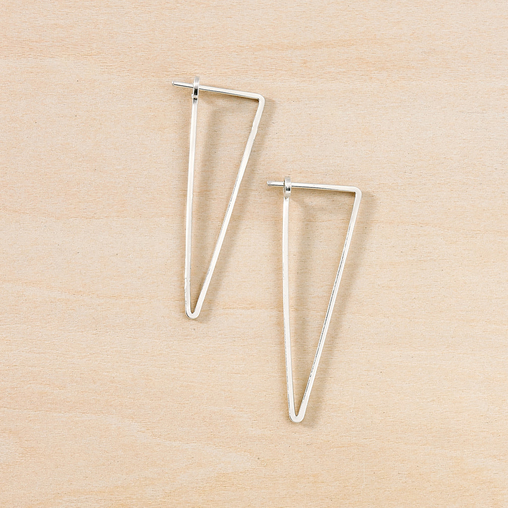 sterling silver minimal apex earrings, freshie and zero