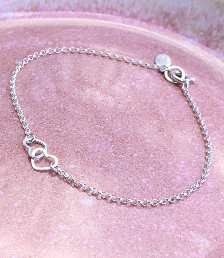 Two Tiny Linked Hearts Silver Bracelet Dainty Gift for Girlfriend