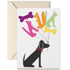 Birthday Card: Dog & Balloons - Freshie & Zero