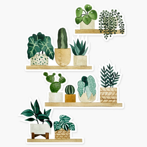 Clear Sticker: Plant Shelves