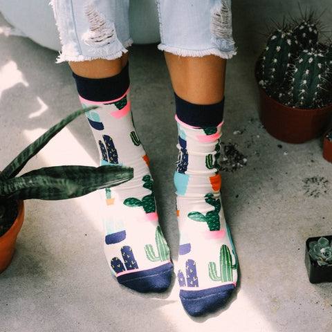Woven Pear socks: Prickly Pear crew