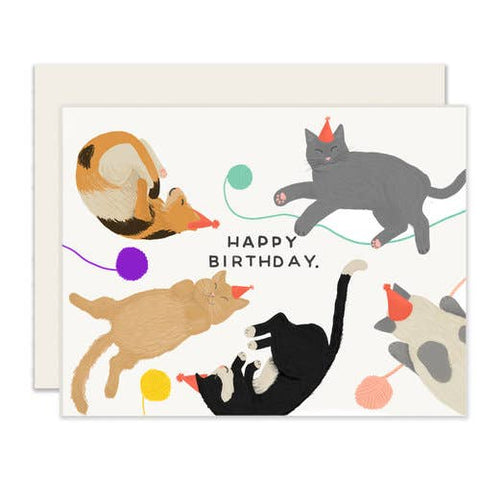 Birthday Card - Party Hat Cats