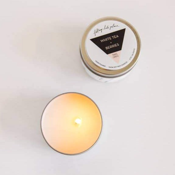 Travel Candle White Tea + Berries - Freshie & Zero | artisan handmade hammered jewelry | handmade in Nashville, TN