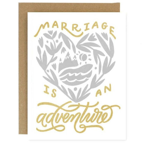 Worthwhile Paper - Marriage is an Adventure Wedding Card