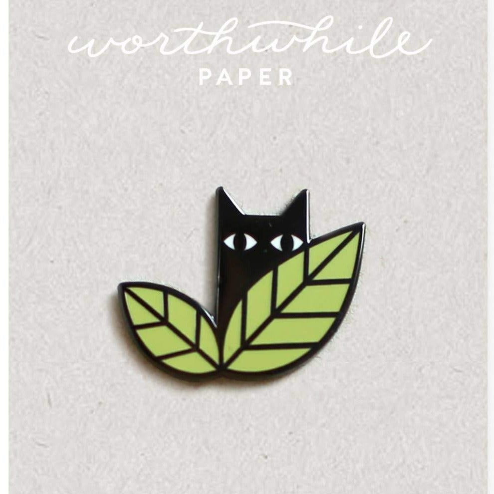 Worthwhile Paper - Cat in leaves enamel pin