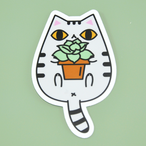 Cat and Potted Plant Vinyl Sticker