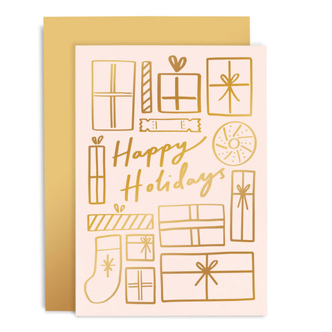 Happy Holidays Blush & Gold Holiday Card