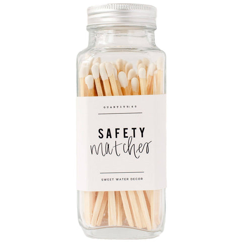 Safety Matches in Glass Jar: White
