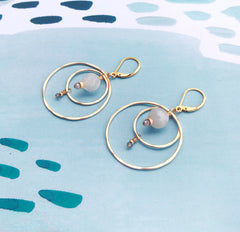 Lumos Mixed Moonstone and Gold Dusky Coast Earrings - Freshie & Zero | artisan handmade hammered jewelry | handmade in Nashville, TN