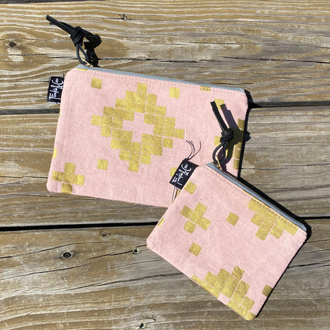 Flat Zipper Pouch In Blush & Gold Linen Canvas
