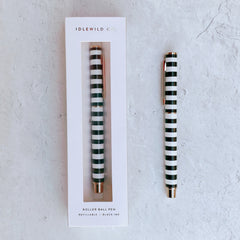 Rollerball Luxe Pen - Black and White Stripe - Freshie & Zero Studio Shop