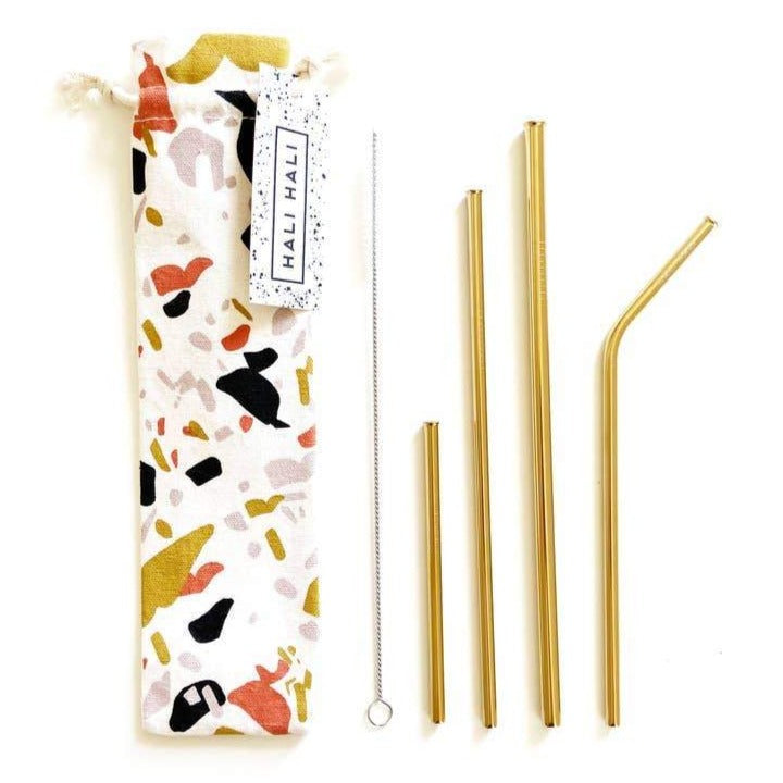Variety Pack of 4 Reusable Straws - Gold - Freshie & Zero Studio Shop
