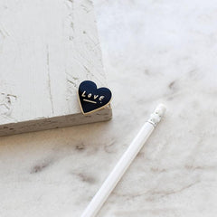 Old English Company - Love Heart Enamel Pin - Freshie & Zero | artisan handmade hammered jewelry | handmade in Nashville, TN