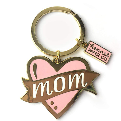 Mom on pink heart Keyring