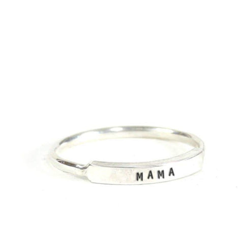 Mama: Hand Stamped Message Stacking Ring