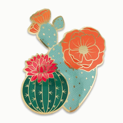 Metallic Sticker: Blooming Cacti