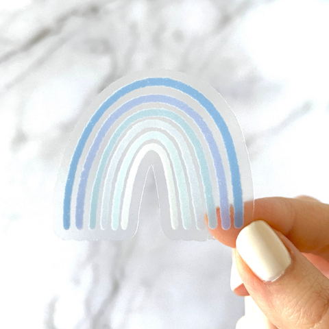 Clear Blue Rainbow Sticker