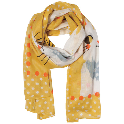 Danica Yellow Cotton Scarf - Meow Meow Cat