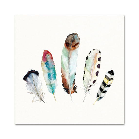 Snoogs & Wilde Art - 5 Feathers Print 8x10 - Freshie & Zero | artisan handmade hammered jewelry | handmade in Nashville, TN